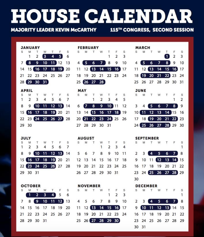 2018 House Calendar